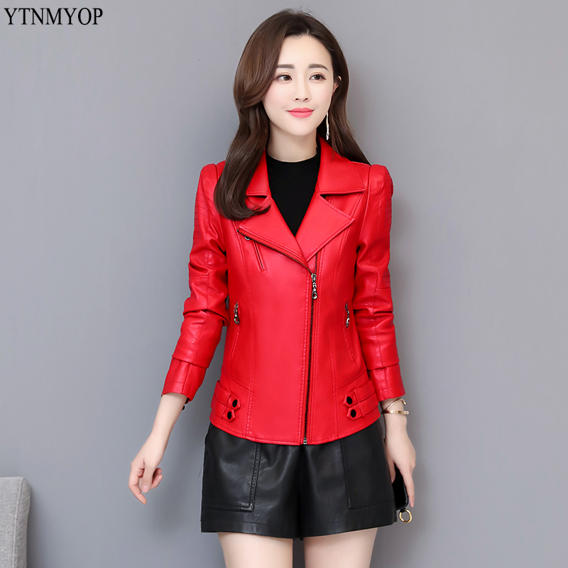 YTNMYOP Motorcycle   Leather   Jacket Women Spring Autumn Female Clothing Outerwear Jackets And Coats Autumn Tops