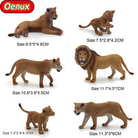 Oenux Savage African Wild Animals Lions Action Figures Toys High Quality Male Female Lion Baby Decoration Model Toy For Kid Gift