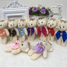 1PCS/Lot Mini Joint Bear Stuffed Plush Toys 11cm Cute White Teddy Bears Pendant Dolls Gifts Birthday Wedding Party Decor(China)