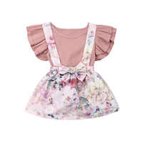 0-3T Newborn Infant Toddler Baby Girls Romper Jumpsuit Tops Short Sleeve Shirt + Dress Skirt Outfit Set Clothes Summer 2019