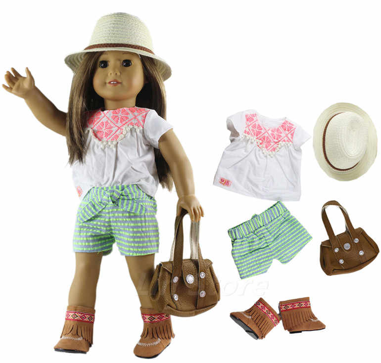 0eb1dbc36389d 5 PCS Doll Clothes Outfit Clothes+bag+glasses+shoes for 18 inch American  Girl Doll Many Style for Choice A14