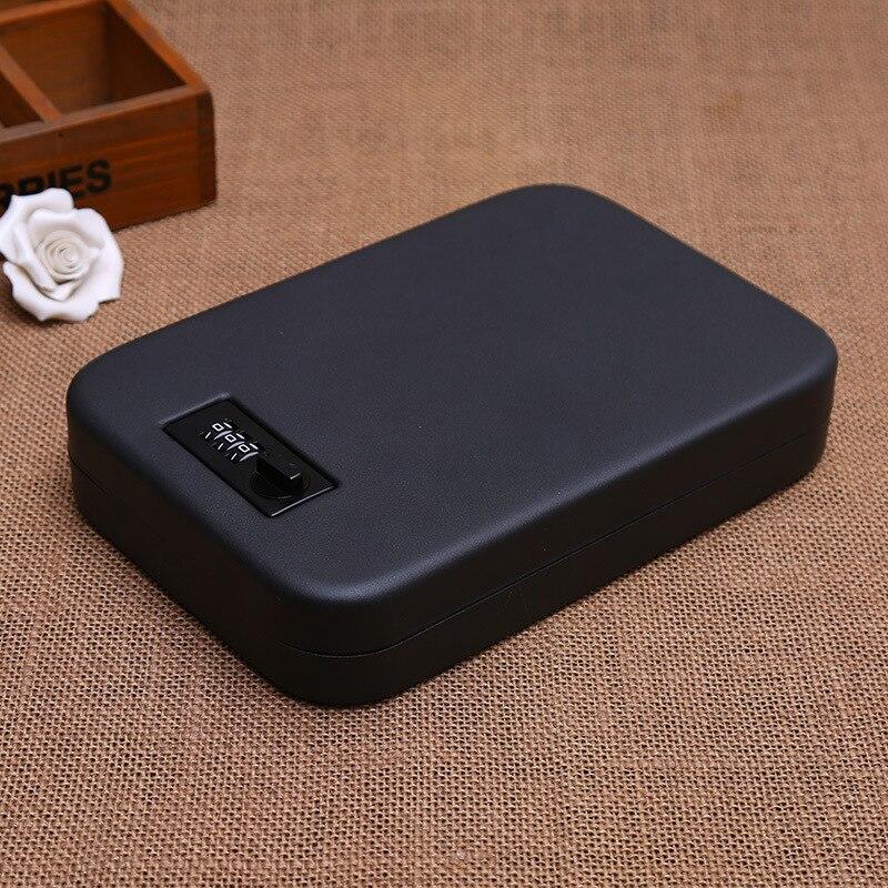 Portable voiture coffre fort pistolet argent argent bijoux boîte de rangement coffre fort de sécurité boîte en acier ouverte par mot de passe/clé