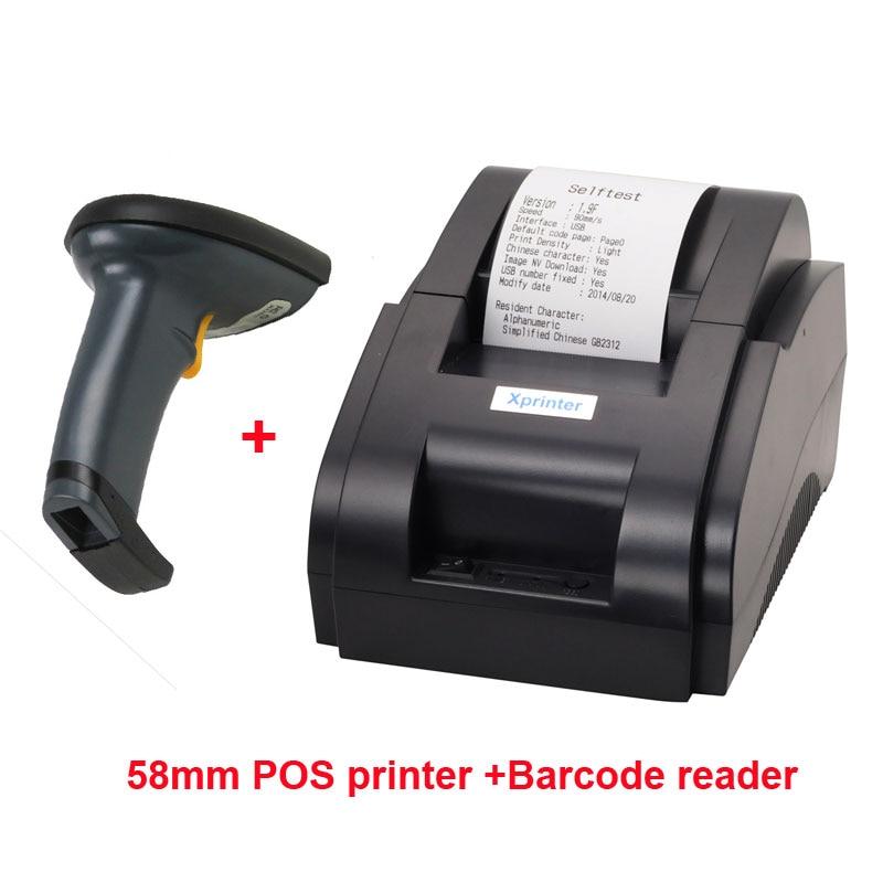 Высокое качество сканер штрих кода и 58 мм Принтер USB Мини термопринтер портативный лазерный принтер