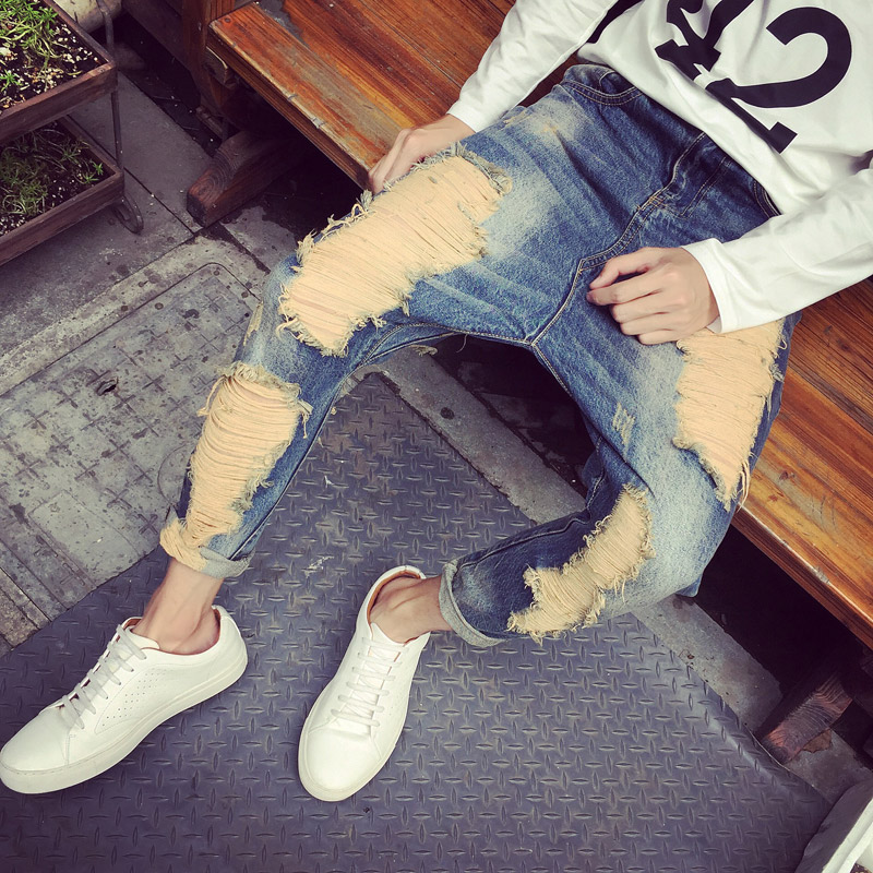 New men`s fashion Big hole low tide beggar pants crotch Haren Ankle-Length jeans trousers fear of god costumes clohting MB16303 2016 new brand spring korean version of the retro men s trousers tide big yards jeans slim pants feet hole tide size 29 36