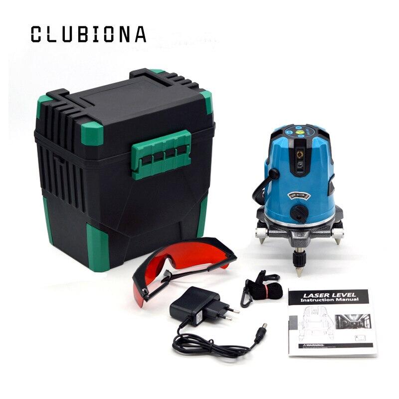 CLUBIONA 5 linee 6 punti 360 gradi rotary 635nm laser esterno modalità-ricevitore e tilt slash disponibili auto line level laser