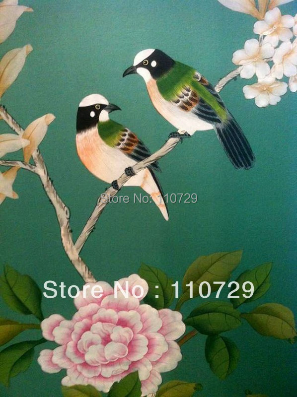 Home Decoration Hand painted silk wallpaper HAND PAINTED painting Plant with birds / flowers many pictures /backgrounds optional home decoration hand painted silk wallpaper hand painted painting plant with birds flowers many pictures backgrounds optional