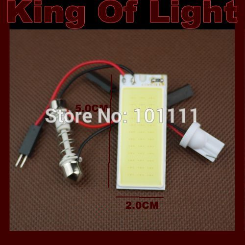 1x high quality Free shipping T10 BA9S Festoon 3 Adapters COB 36 chips white Light 12V LED reading Panel Car interior Dome light