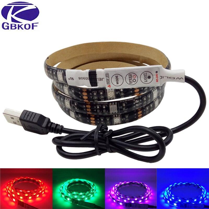 DC 5V USB RGB LED strip SMD 5050 IP65 Waterproof Flexible Light Lamps LED Light TV Background Lighting Adhesive Tape 50CM 1M 2M