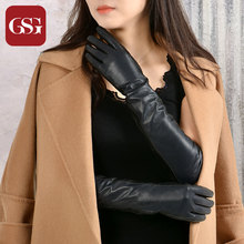 GSG Women Long Leather Gloves Fashion Sheepskin Gloves Ladies Winter Warm Touchscreen Leather Gloves Evening Party Gloves