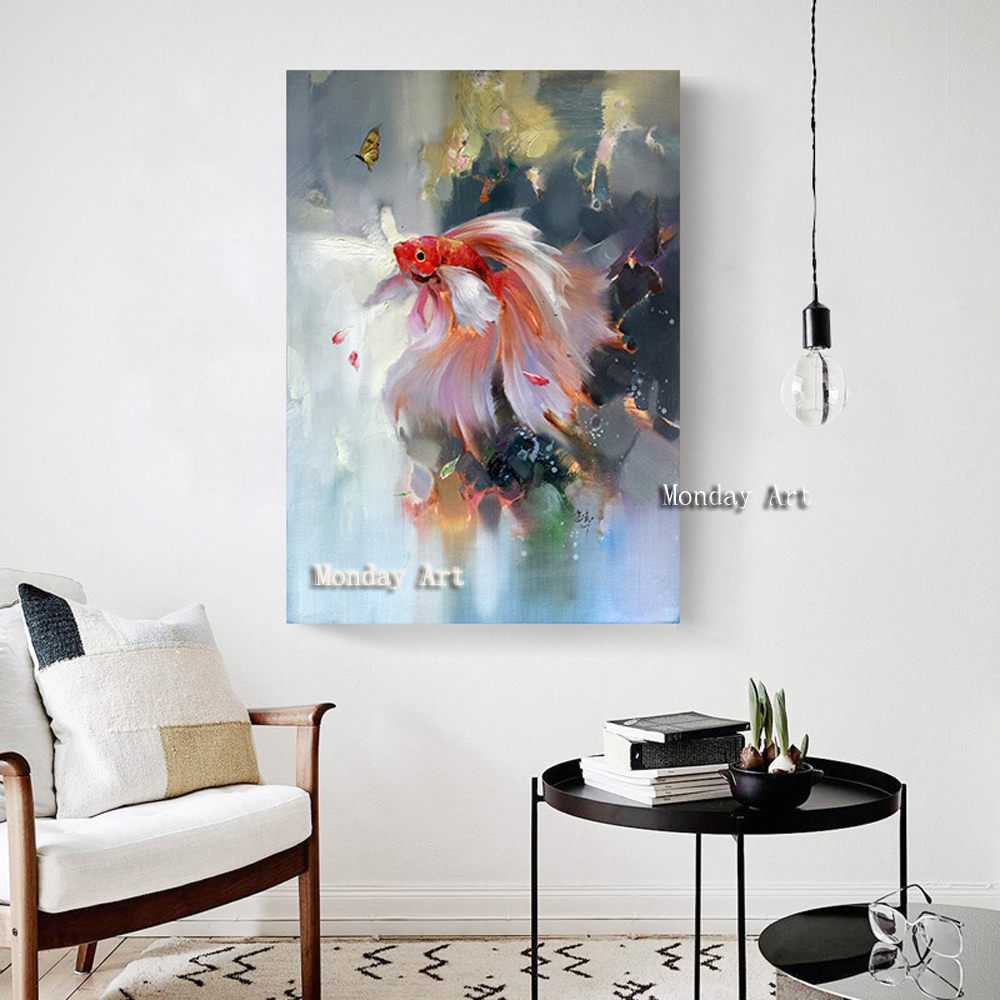 Handmade Traditional Chinese Abstract Landscape Oil Painting Koi Fish Wall Art Picture for Living Room Home Decor no frame