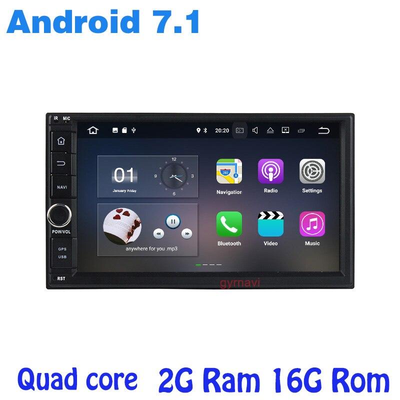 2 DIN Android 7.1 Авто Радио аудио головное устройство 4 ядра 7 дюймов Универсальный Автомобильный нет dvd-плеер GPS стерео настольный ПК ...