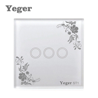 Yeger EU UK Touch Switch LED Wall Light Switch 110 240V 3 Gang 1 Way Waterproof