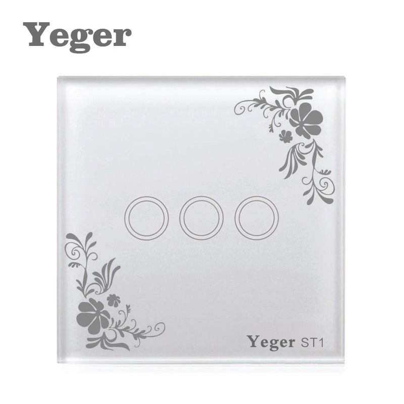 Yeger EU/UK Touch Switch LED Wall Light Switch 110-240V 3 Gang 1 Way Waterproof Crystal Tempered Glass Panels smart home eu touch switch wireless remote control wall touch switch 3 gang 1 way white crystal glass panel waterproof power