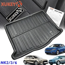 علبة لتمهيد البضائع لسيارات فورد فوكس MK2 MK3 MK4 Hatch Hatchback 2004 2019 بطانة للأمتعة خلفية حقيبة خلفية بساط سجادة مُصممة حسب الطلب