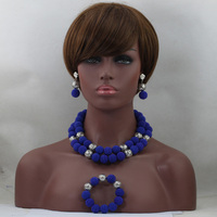 Hot Sales Elegant Royal Blue Plastic Bead Balls Necklace Set African Silver Plated Balls Party Jewelry