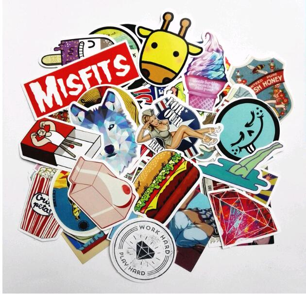 2018 NEW 50pcs Random Mixed Stickers For Cartoon Doodle Decals Luggage Laptop Car Styling Skateboard Home