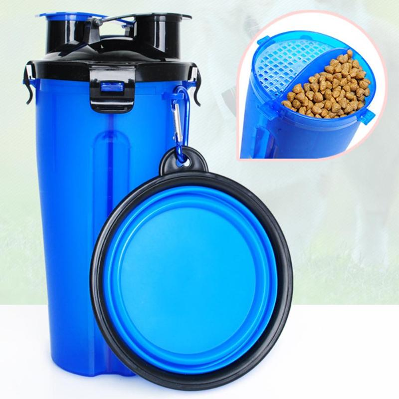 2 in 1 ABS Folding Dogs Cats Feeding  Feeder Water Food Bottle Outdoor Travel Pet Bowls For Pet Dog Cat Puppy Bowl Water 1