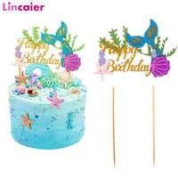 Decoraciones de fiesta de sirena cumpleaños pastel Topper bebé niño niños favores sirena fiesta tema suministros