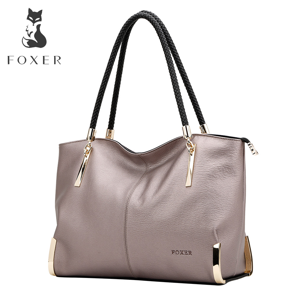 FOXER Brand Women's Cow Leather Håndvesker Kvinne Skuldertaske Designer Luxury Lady Tote Large Capacity Glidelås Handbag for Women