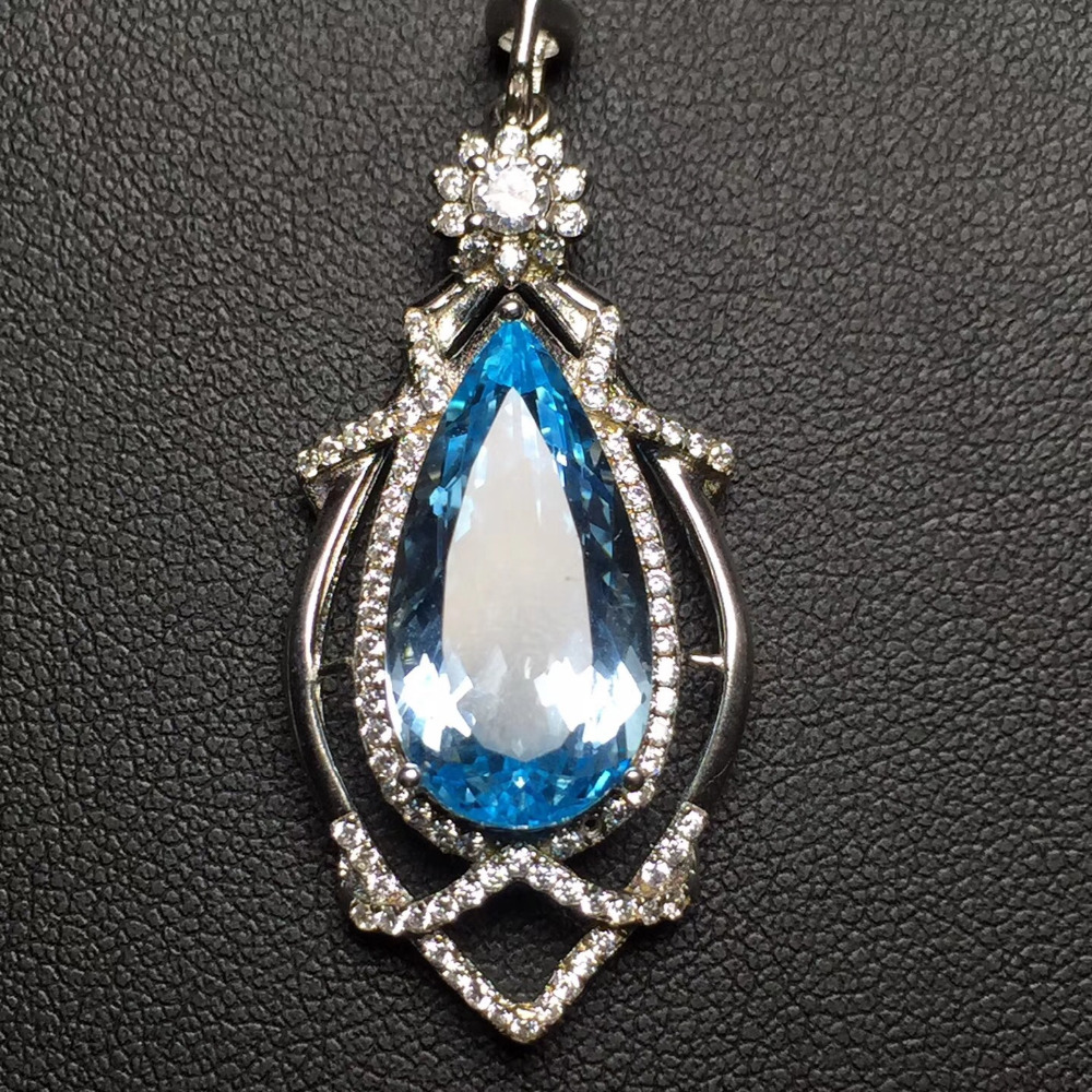 Fine Jewelry Real 925 Steling Silver s925 100% Natural Topaz Gemstone Female Pendant Necklaces Christmas Gift fine jewelry real 925 steling silver s925 100