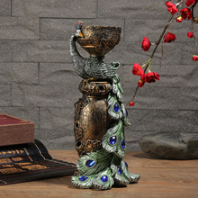 Classical Peacock Candlestick Home Ornaments Wedding Decoration Gift Resin Crafts Nordic Furniture