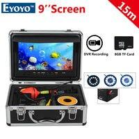 Free Shipping EYOYO WF09 15m Cable 1000TVL Fish Finder 8GB 9 LCD Ocean Fishing Camera DVR