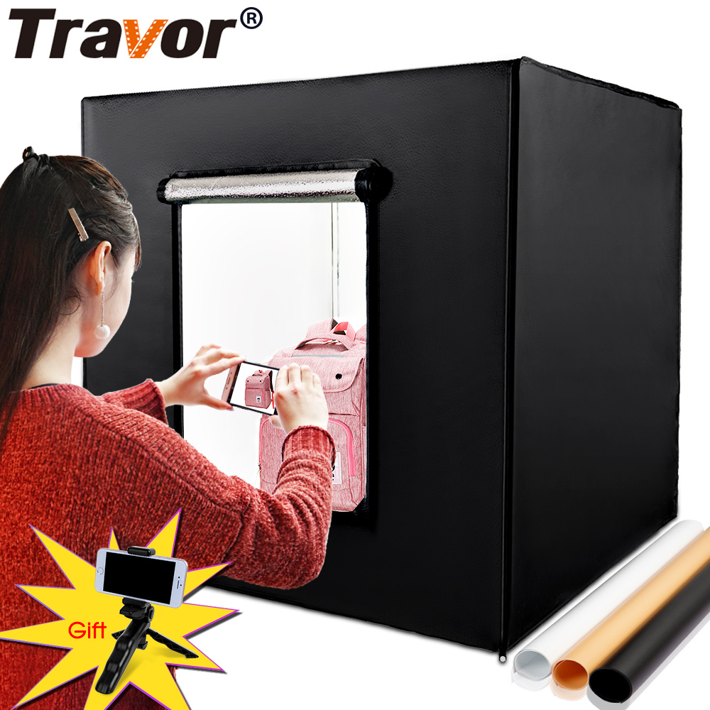 Travor 80*80cm 31.5 inch Dimmable Photo Studio Softbox Light Tent+AC Adapter+Backgrounds for Phone Camera DSLR Jewelry Toys Shoe 80 80cm led photo studio softbox 2 led panels light tent soft box ac adapter backgrounds for phone camera dslr jewelry toys shoe