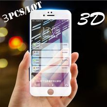 3pcs/Lot 3D Full Cover Edge Tempered Glass For iPhone XR XS MAX X 7 8 6 6S Plus Screen Protector Film Protection Glass(China)