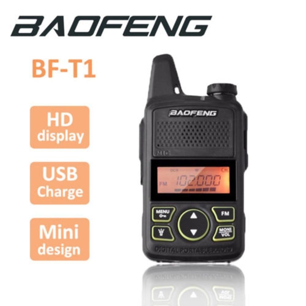 100% BAOFENG BF-T1 MINI Kids Walkie Talkie UHF Portable Two Way Radio FM Function Ham T1 Walkie Talkie USB HF Transceiver