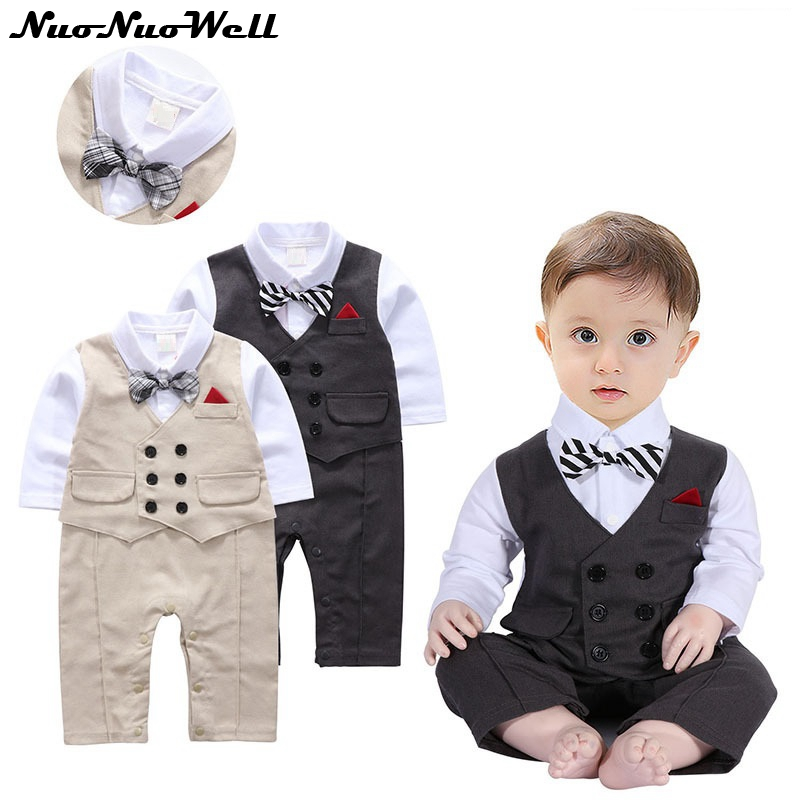 6e42b2461 Infant Boy s Gentleman Romper With Bowtie Formal Baby Boy ONE PIECE ...
