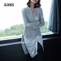 980353642d4ce XJXKS Young Ladies 2018 Autumn Women Fashion Cardigan Sweaters Lovely  Embroidery Patterns Wool Knit Wear Woman