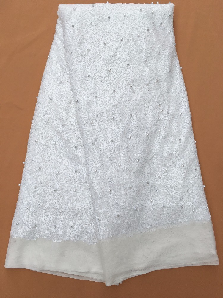 Blanc Paillettes Dentelle Tissu Haute Qualité Sequin Net Tissu 2017 Hojilou Africain Français Dentelle avec Perles dans Dentelle de Maison & Jardin