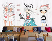 beibehang Custom size Hand-painted childrens classic papel de parede 3d wallpaper girl fashion show clothing store background