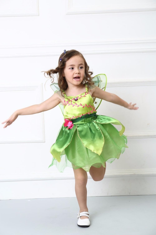 Girl Cute Green Flower Fairy Tinker Bell Costume Children's Day Family Party Tinkerbell Cosplay Dress Halloween Costume For Kids