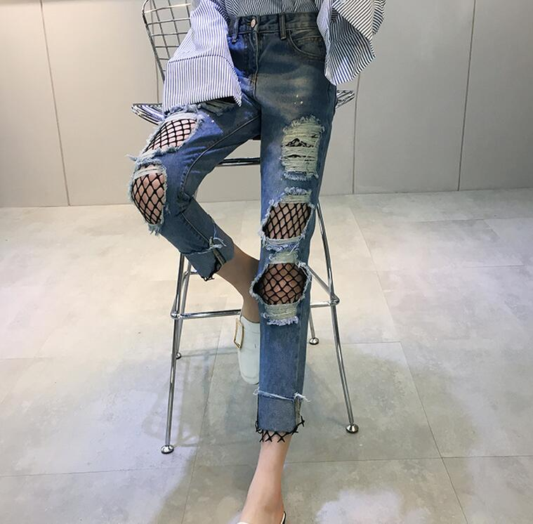 Hilo Azul Vaqueros Caliente xl Mujeres Joker Cintura Nueva De Falsa Primavera Estudiantes Redes Costura Dos S Mostrar Moda 2019 Alta Delgada xHw1RxT