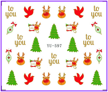 Nail Sticker CHRISTMAS XMAS SANTA CLAUSE SNOW MAN DEERS Water Transfers Stickers Nail Decals Stickers Water YU597-608 image