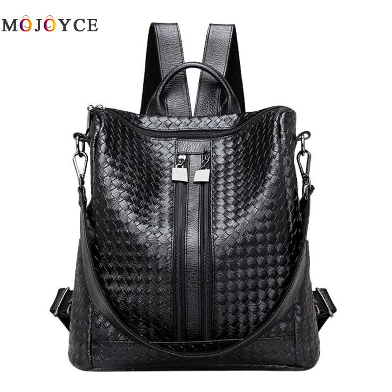 New PU Leather Women Weave Backpack Large Capacity Travel Girls Backpacks Students Schoolbag Soft Shoulder Bag Black Backpacks