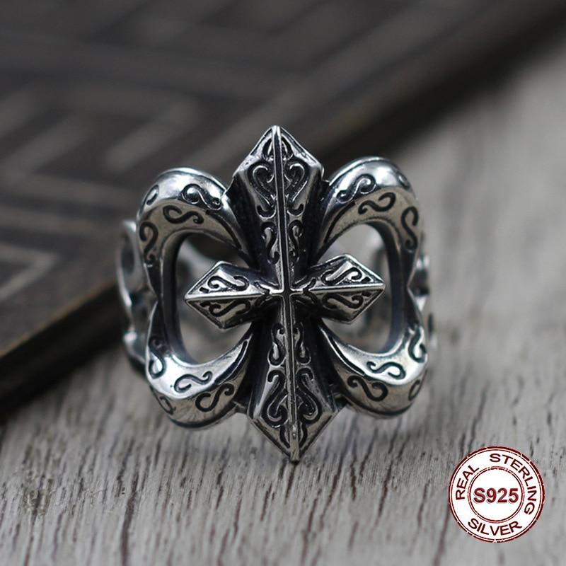S925 pur argent hommes anneau de personnalité Ne vieux restauration anciennes façons Le punk style Creux ouvert navire ancre classique anneau cadeau
