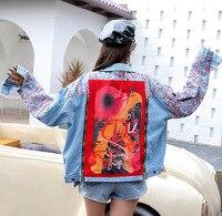 2019 Autumn Denim Jacket Geometric Appliques Coats Punk Hip Hop Coat Jeans Jacket Graffiti Print Women Blue Jean Coat LL006