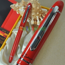 PICASSO 608 RED AND SILVER FOUNTAIN PEN F NIB CRYSTAL ON CLIP WITH ORIGINAL BOX