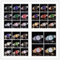 2017 SOUTHBERG Gold Watch Men GMT Rotatable Bezel Sapphire Glass Stainless Steel Band Sport Quartz WristWatch