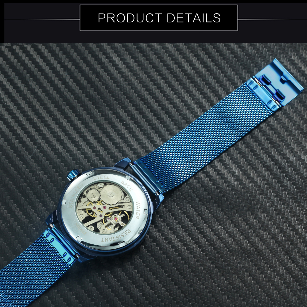Image 5 - WINNER Official Fashion Casual Men Mechanical Watch Blue Mesh Strap Ultra Thin Skeleton Mens Watches Top Brand Luxury Clock 2019-in Mechanical Watches from Watches