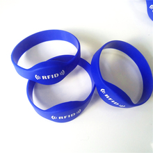 13 56MHZ MF 1K S50 F08 NFC Tags ISO14443A Silicone NFC Wristband Bracelet Printed RFID Wrist