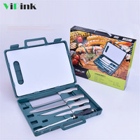 BBQ Tools Set Barbecue Grilling 6PCS Stainless Steel BBQ with ABC Tools bag Camping Outdoor knives fruit kitchen knife cleaver