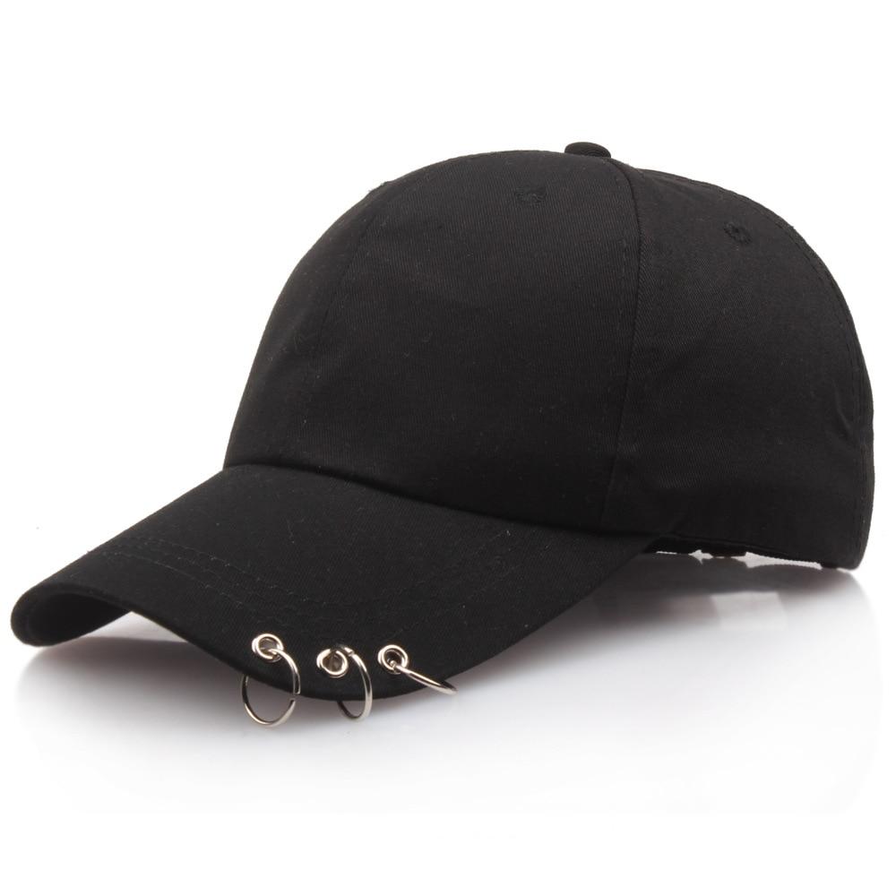 Baseball     Cap   with Rings Bboy Adjustable Casual Snapback Sport Hip-Hop Ball Hat   Baseball     Caps   Unisex Hats Black Pink White