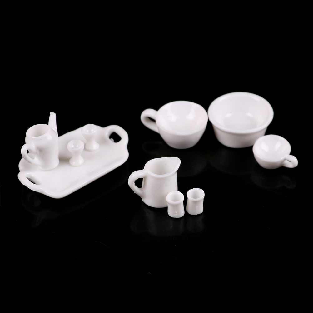 1Set Doll Kitchen Mini Tableware Miniatures Cup Plate Dish Decor Toys for Kid FD