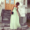 Light Green Bridesmaid Dresses Sweetheart Sleeveless A Line Sweep Train Ruffles Simple Cheap 2017 Wedding Dress Prom Party Gowns