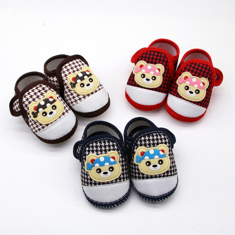 Baby Boy Girl First Walking Shoes Cartoon Bear Anti-Slip Shoes Casual Plaid Shoe Toddler Soft Soled First Walkers