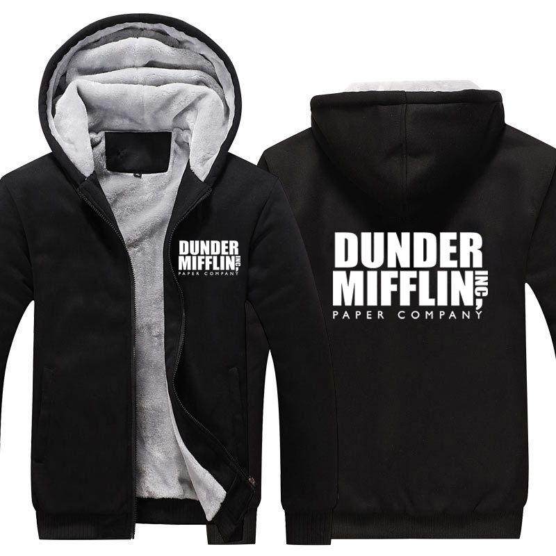 Dunder Mifflin Thicken Hoodie Paper Company Dunder Mifflin Winter Warm Fleece Hoodie Thicken Coat