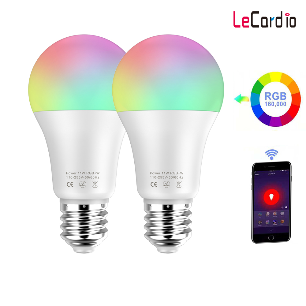 11W Smart LED Bulb Wifi RGB White Timing Function Dimmable LED Lamp 110V Compatible With Amazon Alexa/Google Home Assistant 2PC